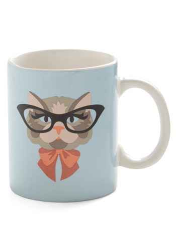 Cat Eyeglasses Mug - International Designer, Blue, Quirky, Print with Animals