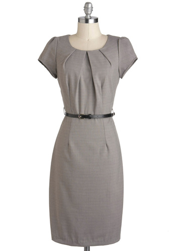 Editors' Meeting Dress - Grey, Belted, Sheath / Shift, Cap Sleeves, Long, Solid, Work, Vintage Inspired, 60s