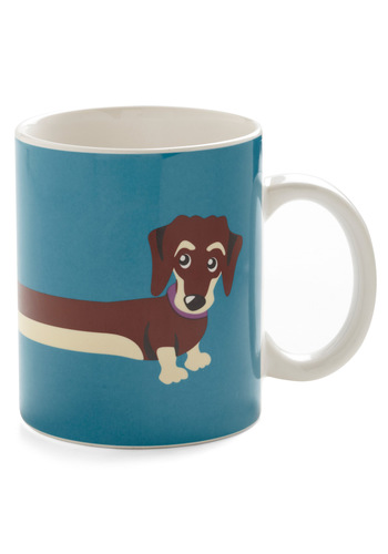 My Pup of Tea Mug by Louche - International Designer, Blue, Quirky, Print with Animals