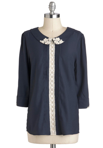 Maven of Modesty Top - Blue, Tan / Cream, Lace, Peter Pan Collar, Work, Long Sleeve, Mid-length