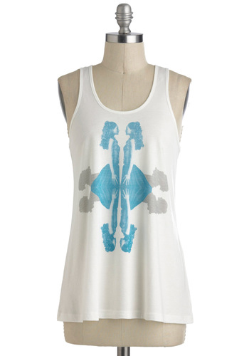 Reflections on Style Top - Mid-length, White, Blue, Grey, Casual, Print, Tank top (2 thick straps)