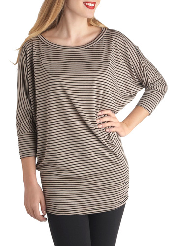 Just the Right Notetaker Top - Brown, Black, Stripes, Casual, Short Sleeves, Long