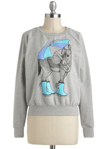 Calls Foal Rain Top - International Designer, Mid-length, Grey, Blue, Casual, Quirky, Long Sleeve, Print with Animals