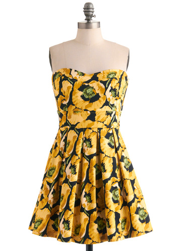 Bouquet of Style Dress in Celandine - Yellow, Green, Black, Floral, Party, A-line, Strapless, Mid-length, Cotton, Fit & Flare, Sweetheart, Beach/Resort, Variation, Graduation