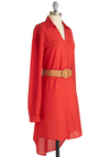 Red All About You Dress - Mid-length, Sheer, Red, Solid, Buttons, Belted, Casual, High-Low Hem, Long Sleeve, Exclusives