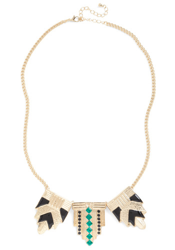 Loud and Clear Necklace - Gold, Green, Black, Rhinestones, Statement, 20s