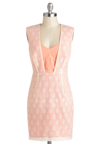 Concealed with a Kiss Dress - Coral, Tan / Cream, Lace, Sheath / Shift, Sleeveless, Cutout, Vintage Inspired, Wedding, Party, Pastel, Mid-length, Bridesmaid