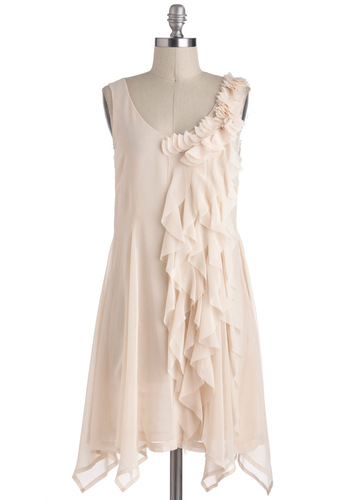 The Sweetest Style Dress - Solid, Ruffles, Daytime Party, Sleeveless, Cream, Wedding, Tent / Trapeze, Fairytale, Short, Graduation, Scoop, Bride
