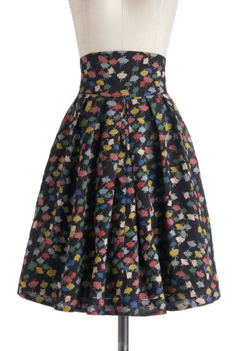 Sail We Dance Skirt in Colorful Clouds by Emily and Fin - Black, Multi, Novelty Print, Casual, Sleeveless, International Designer, Long, Cotton, Pockets, Vintage Inspired, 50s