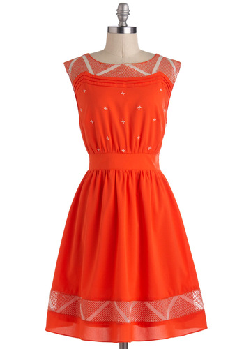 Cayenne and Then Dress - Embroidery, A-line, Sleeveless, Casual, Orange, Party, Vintage Inspired, 50s, Mid-length, Top Rated