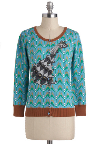 Opulent Art Nouveau Cardigan by Knitted Dove - Multi, Green, Blue, Black, Buttons, Long Sleeve, Print with Animals, Work, Casual