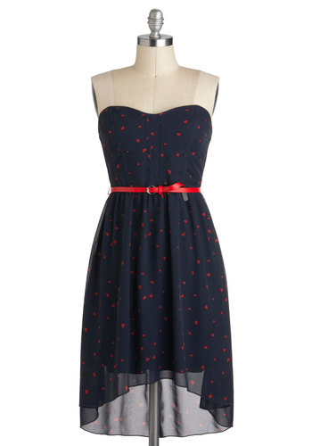 Heart of the Pattern Dress - Blue, Red, Print, Belted, Party, High-Low Hem, Strapless, Sweetheart