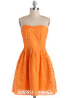 Glow Dancing Dress by Jack by BB Dakota - Orange, Orange, Solid, Embroidery, Strapless, Daytime Party, A-line, Mid-length