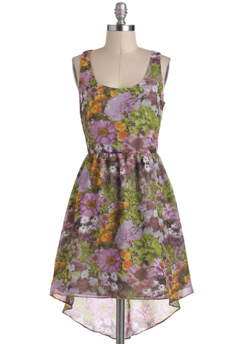 Watercolor My World Dress by Jack by BB Dakota - Floral, A-line, Sleeveless, Spring, Daytime Party, High-Low Hem, Multi, Sheer, Mid-length, Scoop, Graduation