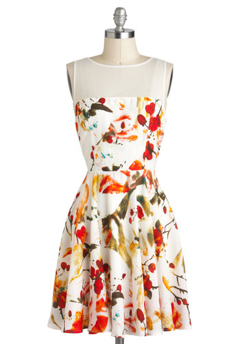 Scatter in the Breeze Dress by BB Dakota - White, Multi, Casual, A-line, Sleeveless, Print, Daytime Party, Mid-length, Graduation
