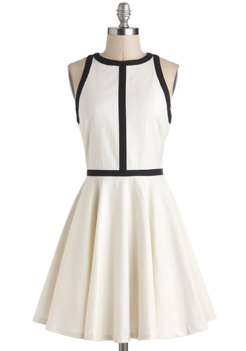 Minimalist is More Dress by BB Dakota - White, Black, Trim, Sleeveless, Fit & Flare, Minimal, 60s, Mod, Mid-length, Party, Graduation