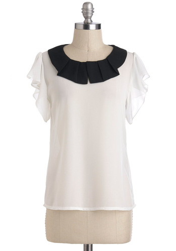 Twofold Taste Top - White, Black, Pleats, Short Sleeves, Mid-length, Work
