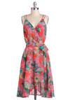 Watercolor the Flowers Dress by BB Dakota - Pink, Multi, Spaghetti Straps, Spring, Floral, Belted, A-line, V Neck, Daytime Party, Beach/Resort, Mid-length, Graduation, Press Placement