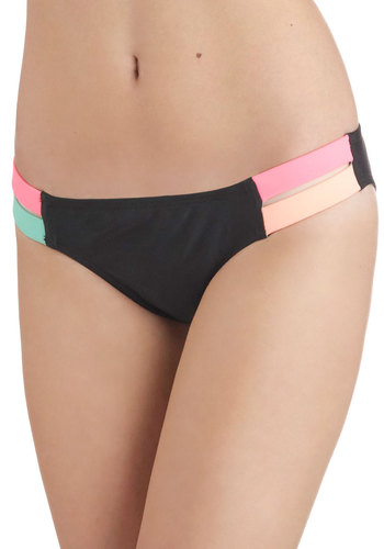 Psyched for Surfing Swimsuit Bottom - Black, Multi, Solid, Trim, 80s, Colorblocking, Summer, Beach/Resort, Cutout, Neon