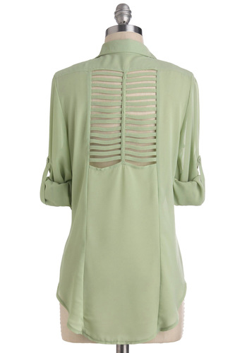 Expert Panelist Top - Mint, Solid, Buttons, Cutout, Long, Pastel