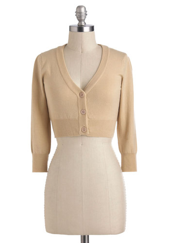 The Dream of the Crop Cardigan in Oatmeal - Tan, Solid, Buttons, Work, Long Sleeve, Minimal, Variation, Short