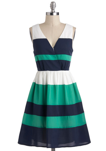 Pier Into My Dreams Dress - Green, Blue, White, Stripes, Casual, Nautical, A-line, Sleeveless, Mid-length, Cotton, V Neck