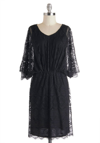Cafe Society Dress - Mid-length, Black, Solid, Lace, Cocktail, Film Noir, 3/4 Sleeve, 30s, 20s