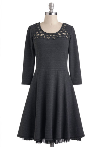Cozy for Celebration Dress - Mid-length, Grey, Black, Lace, Steampunk, A-line, Long Sleeve, Party