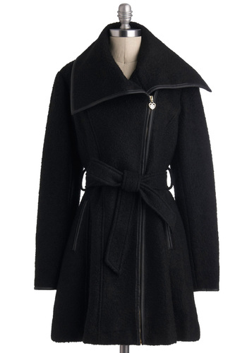 Urban Legendary Coat - Black, Belted, Long Sleeve, 4, Winter, Long