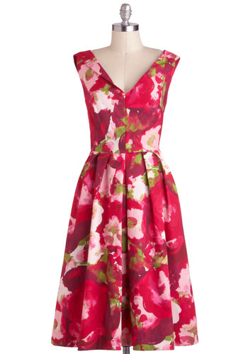 Prettiest Gal in the Bloom Dress by Emily and Fin - International Designer, Cotton, Long, Pink, Floral, Pockets, Daytime Party, A-line, Sleeveless, V Neck, Vintage Inspired, 50s, Beach/Resort, Pinup