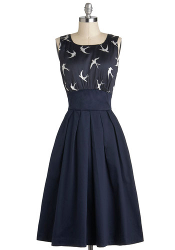 The Polite Pairing Dress in Birds by Emily and Fin - International Designer, Long, Blue, White, Print with Animals, Pockets, Vintage Inspired, A-line, Sleeveless, Party, 50s