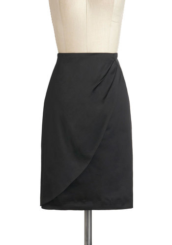 Sleek and You Shall Find Skirt by Emily and Fin - International Designer, Mid-length, Black, Solid, Pleats, Work, Pencil