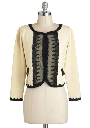 Cake Tasting Cardigan - Short, Cotton, Black, Lace, Trim, Work, Long Sleeve, Cream