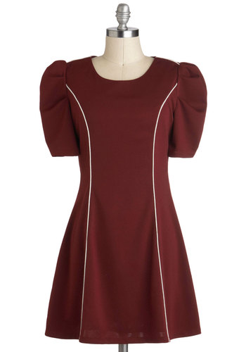 A New Altitude Dress - Red, White, Casual, Short Sleeves, Fall, Short, Vintage Inspired
