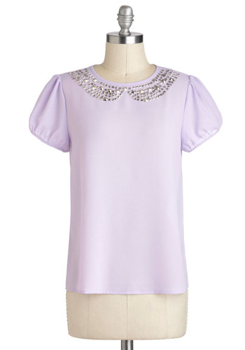 Collar My Name Top - Purple, Studs, Short Sleeves, Sheer, Mid-length, Work, Party