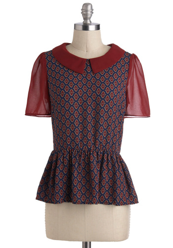 Leaf Your Mark Top - Mid-length, Red, Blue, Print, Peter Pan Collar, Work, Peplum, Short Sleeves, Collared, Fall