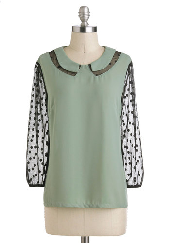 Sage Manager Top - Sheer, Mid-length, Green, Black, Peter Pan Collar, Work, Long Sleeve, Collared, Polka Dots, Mint