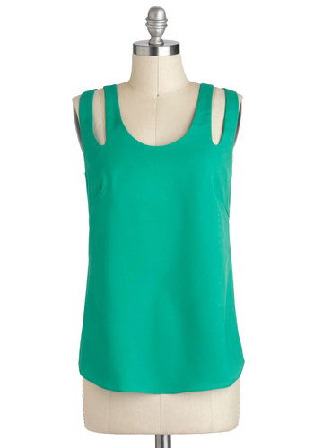 Winsome in Wintergreen Top - Green, Blue, Cutout, Tank top (2 thick straps), Mid-length, Casual, Scoop