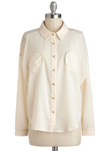 Ecru, Brute? Top - Sheer, Mid-length, White, Solid, Buttons, Pockets, Work, Long Sleeve, Collared