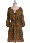 Showroom Stopper Dress - Mid-length, Tan, Multi, Print, Casual, A-line, 3/4 Sleeve, Fall