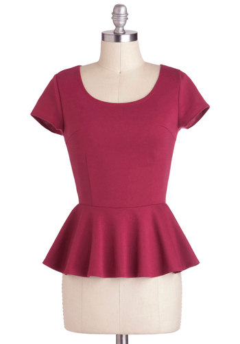 Citrus Twist Top - Mid-length, Pink, Yellow, Solid, Work, Peplum, Short Sleeves, Exposed zipper, Scoop, Pink, Short Sleeve