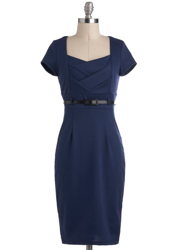 I Dream of Indigo Dress - Blue, Solid, Belted, Sheath / Shift, Short Sleeves, Long, Work, Vintage Inspired, Variation