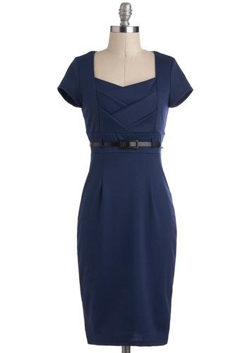 I Dream of Indigo Dress - Blue, Solid, Belted, Shift, Short Sleeves, Long, Work, Vintage Inspired, Variation