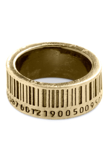 Up to Barcode Ring in Gold - Gold, Quirky, Statement, Novelty Print, Gold