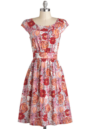 Day After Day Dress in Bouquets by Emily and Fin - Casual, A-line, Cap Sleeves, Spring, International Designer, Red, Orange, Pink, Floral, Pockets, Cotton, Variation, Long