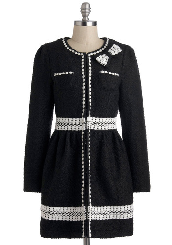 I Could Write a Boucle Coat - Long, 2, Black, White, Solid, Eyelet, Long Sleeve, Pockets, Party, Film Noir