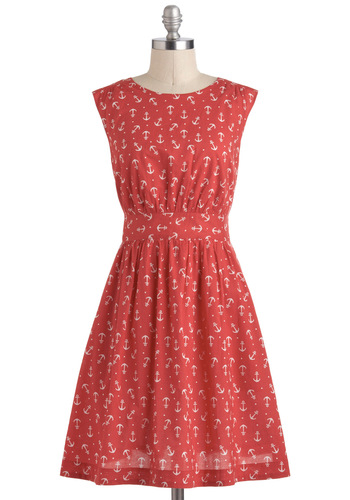 Too Much Fun Dress in Red Anchors by Emily and Fin - International Designer, Red, White, Print, Casual, Nautical, Sleeveless, Cotton, Pockets, Variation, Pinup, Basic, Mid-length, Fit & Flare, Exclusives