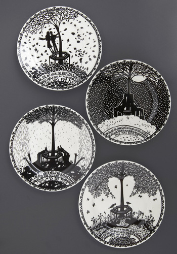 Love at First Bite Plate Set - Folk Art, Fairytale, Black, White, Novelty Print, Daytime Party