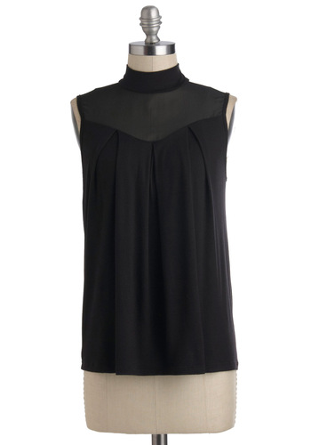 Concert Band Top - Black, Sleeveless, Sheer, Mid-length, Party, Minimal, Cocktail, Girls Night Out