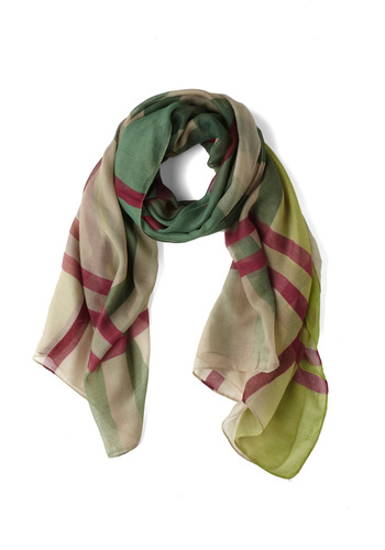 Sheer Plaid-ness Scarf - Green, Multi, Plaid, Sheer